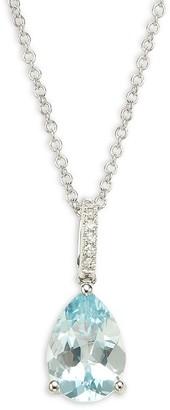 Effy 14K White Gold, Aquamarine Diamond Pendant Necklace