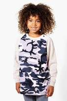 boohoo Boys Camo Contrast Sweat Top camo