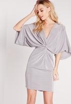 Missguided Slinky Kimono Mini Dress Grey
