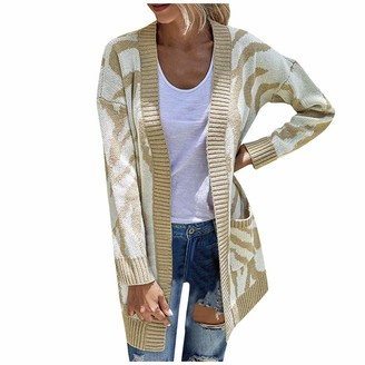 Timemeam TIMEMEAN Lightweight Sweaters for Women Open Front Long Sleeved Knit Cardigan Khaki Large
