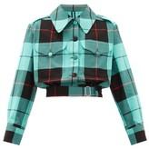 Charles Jeffrey Loverboy Hamish Tartan-checked Cotton Cropped Jacket - Womens - Green Multi