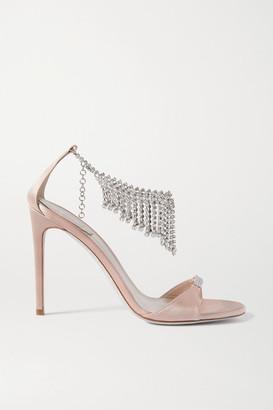 Rene Caovilla Crystal-embellished Satin Sandals - Neutral
