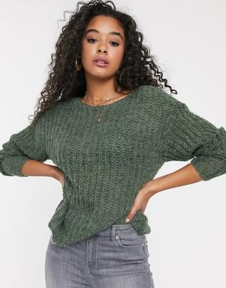 JDY open knit jumper in green