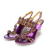 Monie Women's Bling Crystal Everning Dress Sandals Handmade Strappy Wedges with Unique Heel 6.5B US