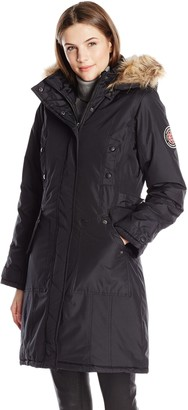 Madden-Girl Women's Parka with Faux Fur Trim Hood