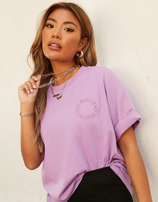 ASOS DESIGN Weekend Collective oversized t-shirt with embroidered logo in purple