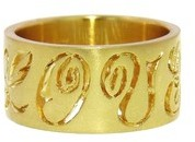 Cathy Waterman Wide Carved LOVE Band