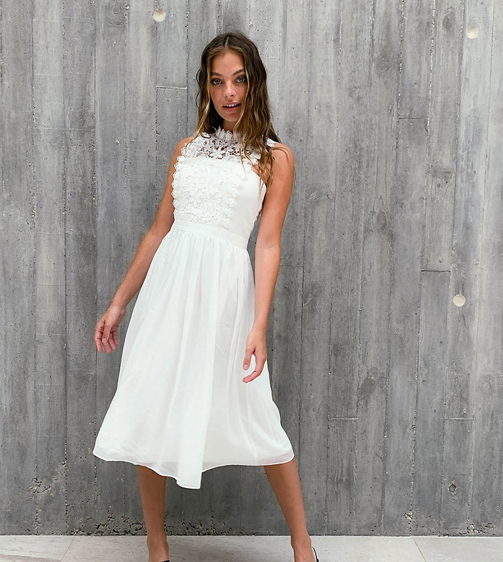 Chi Chi London lace mix prom dress in white