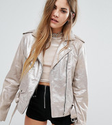 Reclaimed Vintage Sparkle Leather Biker Jacket