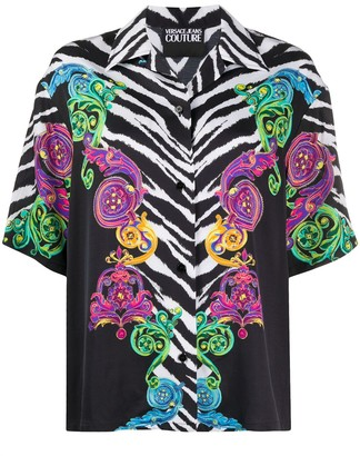 Versace Short Sleeved Zebra Print Shirt
