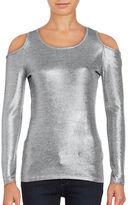 MICHAEL Michael Kors Metallic Cold Shoulder Top
