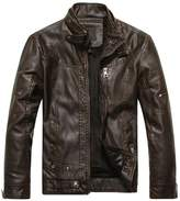 Pishon Men's Biker Jackets Vintage Faux-fur Lined Light Faux-leather Moto Jacket