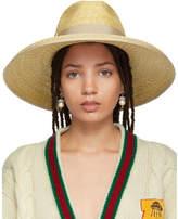 Gucci Beige Straw Wide-Brim Hat