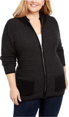 Karen Scott Plus Textured Zip-Front Cardigan