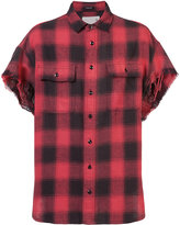 R 13 shortsleeved plaid shirt