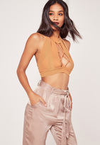 Missguided Lace Up Front Mesh Overlay Bralet Nude