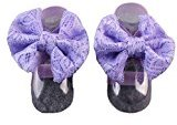 DZT1968 1Pair Baby girl 0-6 months Lace Barefoot Toddler Baby Foot Flower Anklet (Purple)