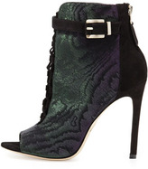 Brian Atwood Lindford Peep-Toe Bootie, Purple/Green
