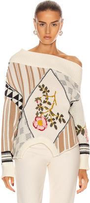 Monse Upside Down Floral Patch Sweater in Linen Multi   FWRD