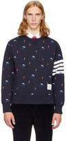 Thom Browne Navy Classic Four Bar Skier Icon Sweatshirt