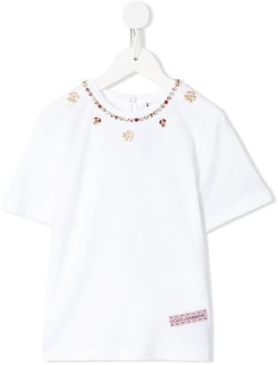 Dolce & Gabbana Kids crystal-embellished T-shirt