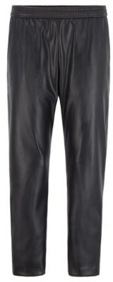 HUGO BOSS Regular Fit Jogging Pants In Faux Leather - Black