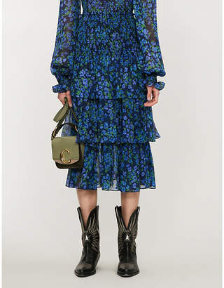 The Kooples Floral-print shirred-waist silk-chiffon midi skirt