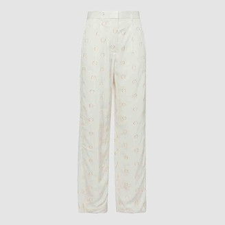 Victoria Beckham Cream Dotted Straight Leg Trousers UK 6
