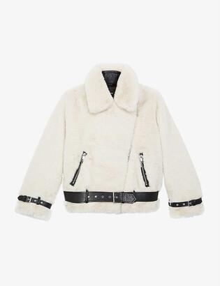 The Kooples Faux-fur biker jacket