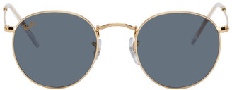 Ray-Ban Gold and Green Round Metal Sunglasses