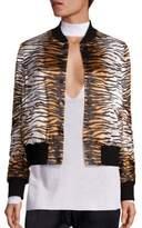 A.L.C. Lloyd Silk Tiger-Print Bomber Jacket