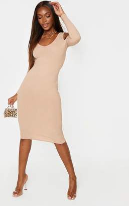 PrettyLittleThing Chocolate Brown Cold Shoulder V Neck Ribbed Midi Dress
