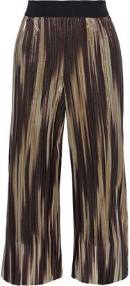 Alice + Olivia Elba Cropped Printed Plisse-lame Wide-leg Pants