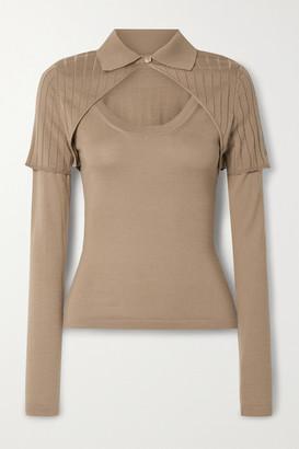 Jacquemus Layered Merino Wool-blend Sweater - Mushroom