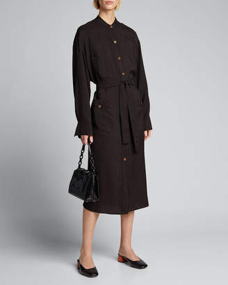 Vince Belted Button-Down Midi Dress