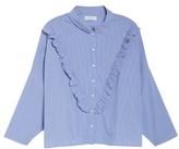 Plus Size Women's Elvi Striped Ruffle Shirt