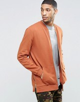 Asos Longline Jersey Bomber Jacket With Side Zips