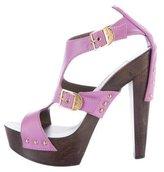 Versace Leather Caged Platform Sandals