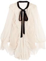 Chloé Velvet-trimmed Ruffled Silk-crepon Blouse - Off-white