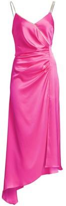 David Koma Asymmetric Ruched Slip Dress