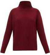 Nili Lotan Houston Roll-neck Waffle-knit Cashmere Sweater - Womens - Burgundy