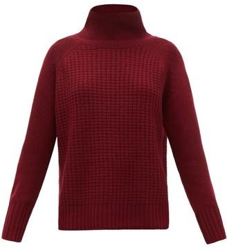 Nili Lotan Houston Roll-neck Cashmere Waffle-pique Sweater - Burgundy