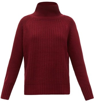 Nili Lotan Houston Roll-neck Waffle-knit Cashmere Sweater - Womens - Burgundy