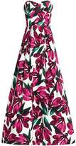 Milly Ava Strapless Floral-Print Cotton-Blend Faille Gown