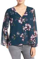 Cupcakes And Cashmere 'Tibet' Floral Print Chiffon Blouse