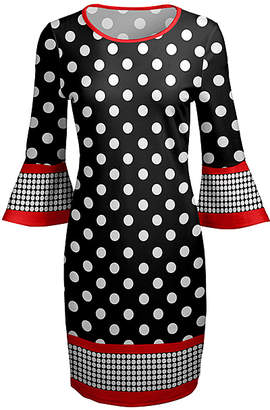 Lily Women's Career Dresses RED - Red & Black Polka Dot Ruffle-Sleeve Scoop Neck Dress - Women & Plus