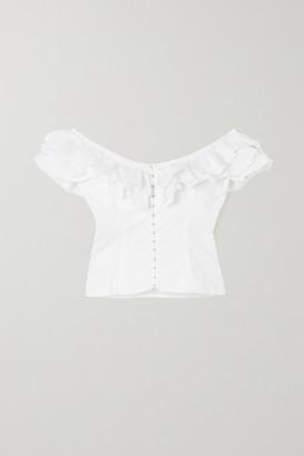 De La Vali La Paz Off-the-shoulder Ruffled Recycled Poplin Top - White