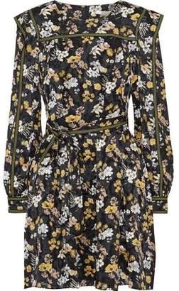 Derek Lam 10 Crosby Belted Floral-print Fil Coupe Silk-blend Mini Dress