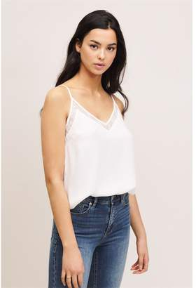 Dynamite V-Neck Cami With Lace Snow White