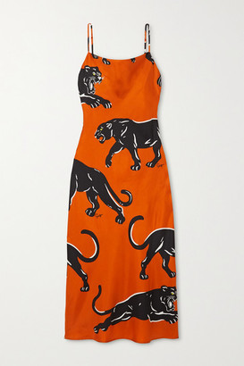 Olivia von Halle Bibi Printed Silk-satin Maxi Dress - Orange
